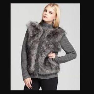 Michael Kors faux fur ribbed cardigan in do gray!